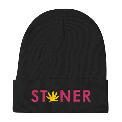 Pink Stoner Yellow Weed Knit Beanie Hat - 420 Mile High
