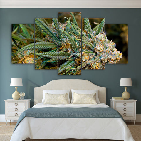 Cannabis Bud Plant Canvas Wall Art For Living Room Hemp Home Decor 5 Pieces - 420 Mile High