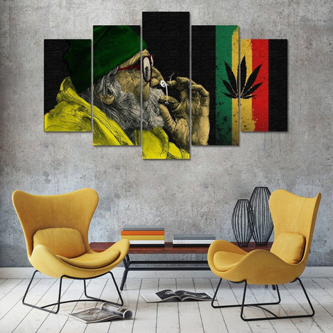 Smoke Weed Everyday Marijuana Plant Canvas Wall Art For Living Room Hemp Home Decor 5 Pieces - 420 Mile High