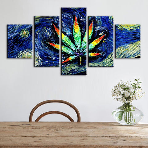Hemp Weed Leaf Abstract Modern Print 5 Piece Canvas Wall Art - 420 Mile High