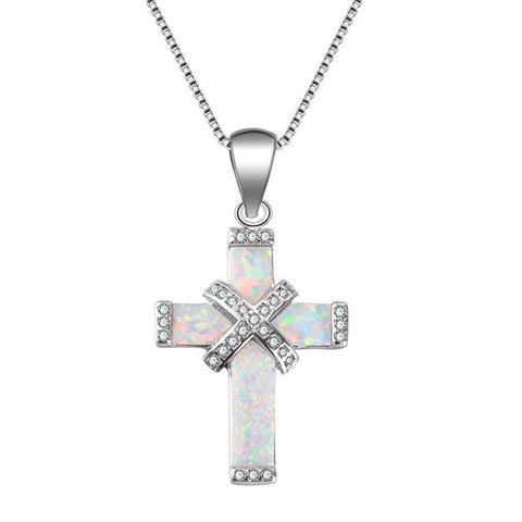 White Opal Cross Pendant Necklace | 420 Mile High