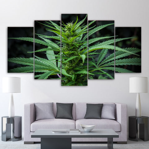 Cannabis Plant Canvas Wall Art For Living Room Hemp Home Decor 5 Pieces - 420 Mile High