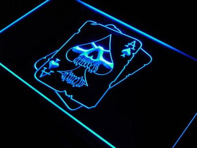 Skull Ace Poker Room Decor LED Neon Sign - 420 Mile High