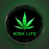 High Life Weed LED Round Neon Sign Choose Your Color - 420 Mile High
