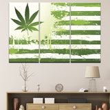 American Flag With Weed Leaf Canvas Wall Art For Living Room - Home Decor 3 Pieces - 420 Mile High