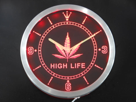 SALE - High Life LED Neon Weed Wall Clock - 420 Mile High
