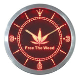 SALE - Free The Weed LED Neon Wall Clock - 420 Mile High