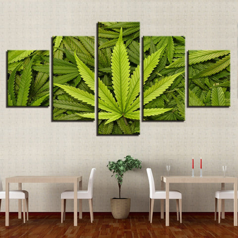 Weed Leaf Pot Plant Canvas Wall Art For Living Room Hemp Home Decor 5 Pieces - 420 Mile High