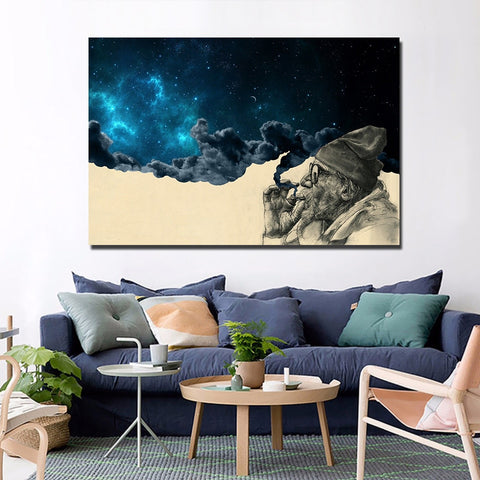 Old Man Smoking Weed and Wonder Canvas Wall Art - 420 Mile High