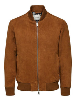 Selected Wildleder Jacke Braun