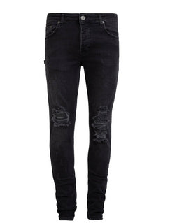 Retro Skinny Fit Jeans - Black Washed - Destroyed