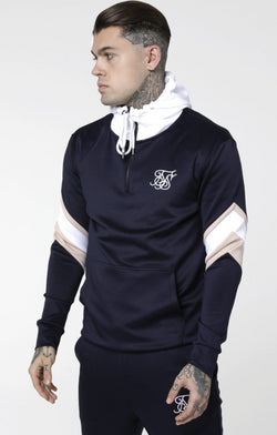 SikSilk Sprint Zip Hoodie Navy Blue
