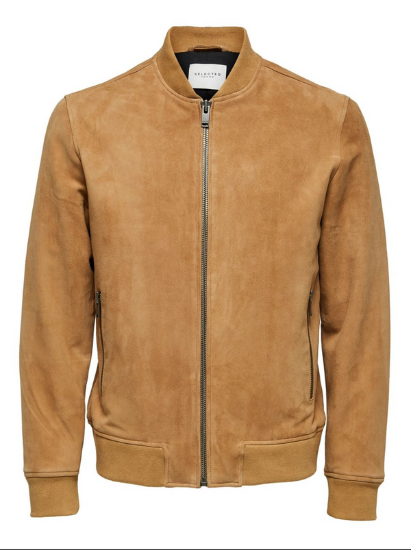 Slected Suede Bomber Jacket Brown