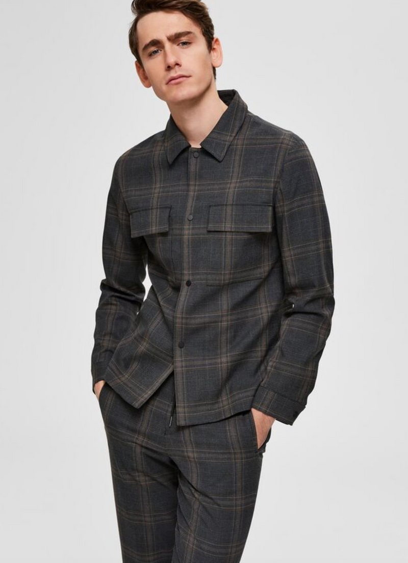 Selected Checkered Overshirt Grey