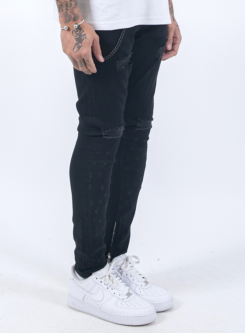 Chayne Denim Destroyed Black