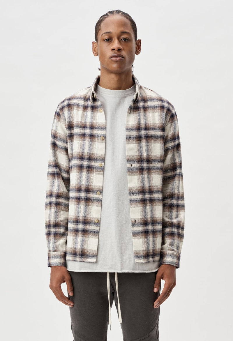 John Elliott Sly Straight Shirt -Natural x Navy