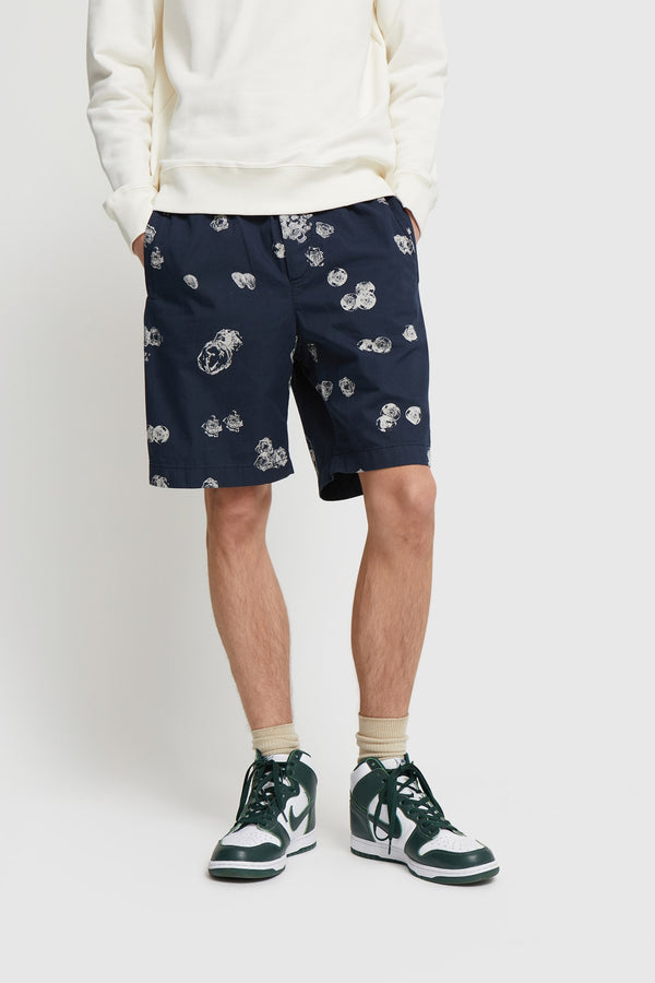 WoodWood Alfred Graphic Shorts Navy