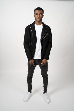 Selected Homme Biker Jacket Suede Black