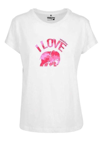 I Love Elephants - Boxy T-Shirt for Women - S / PinkCamo_White - Womens T Shirt