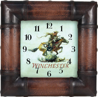 Winchester Leather look Clock - aomega-products