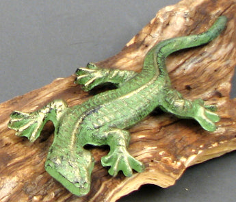Cast Iron Gecko Figure Set of 2 Green - aomega-products