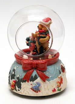 Roman Disney Collection: Musical Woodgrain Pooh Piglet in Dome - aomega-products
