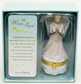 Roman Porcelain Angel Worry Trinket Box - aomega-products