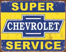 Tin Sign - Super Chevy Service - aomega-products