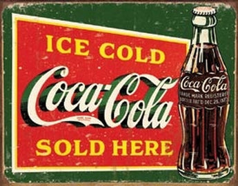 Tin Sign Coke - Ice Cold Green - aomega-products
