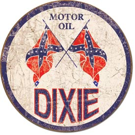 Tin Sign Dixie Gas - Weathered Round - aomega-products