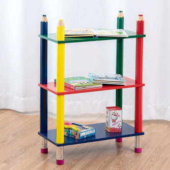 Giantex 3 Tiers Kids Bookshelf Crayon Themed - aomega-products