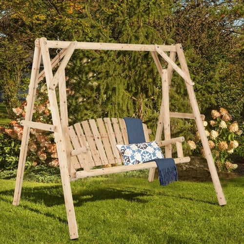 Rustic Wooden Porch Swing Bench W/A-Frame - aomega-products