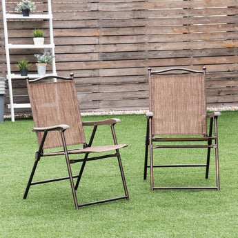 Set of 2 Patio Folding Sling Back Chairs - aomega-products