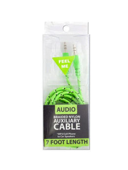 Braided Nylon Auxiliary Audio Cable (Available in a pack of 16) - aomega-products