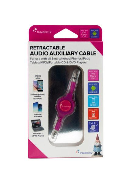 Travelocity Pink Retractable Audio Auxiliary Cable (Available in a pack of 24) - aomega-products