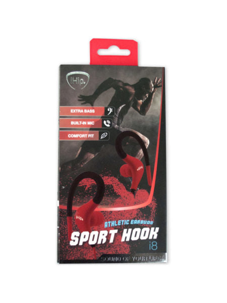 IHip Red and Black Athletic Earbuds Sports Hook (Available in a pack of 6) - aomega-products