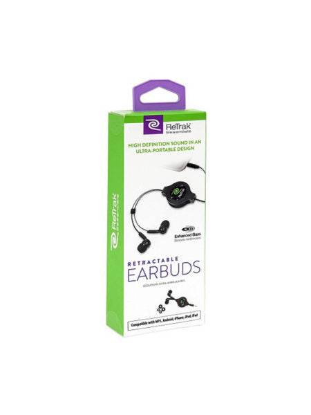 ReTrak Retractable Black Earbuds (Available in a pack of 6) - aomega-products