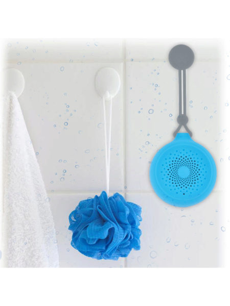 Blue AquaSound Rugged Bluetooth Shower Speaker (Available in a pack of 2) - aomega-products