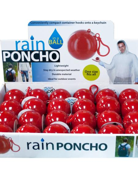 Rain Poncho in a Ball Countertop Display (Available in a pack of 24) - aomega-products