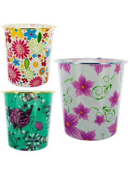 Round Floral Design Wastebasket (Available in a pack of 8) - aomega-products
