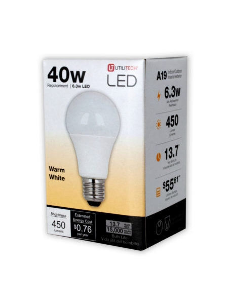 Utilitech 450 Lumen LED 40 Light Bulb (Available in a pack of 12) - aomega-products