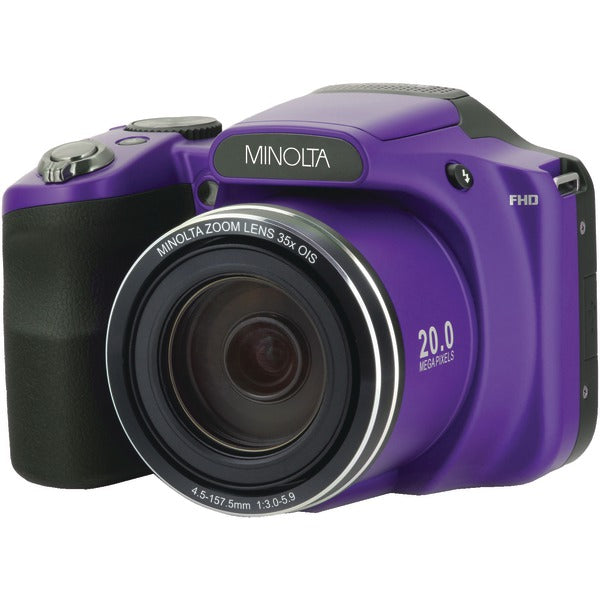 Minolta MN35Z-P 20.0-Megapixel 1080p Full HD Wi-Fi MN35Z Bridge Camera with 35x Zoom (Purple) - aomega-products