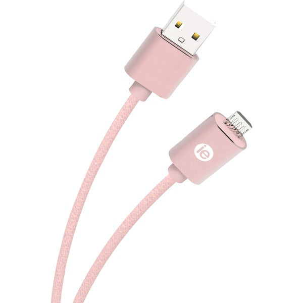iEssentials IEN-BC6M-RGLD Charge & Sync Braided Micro USB to USB Cable, 6ft (Rose Gold) - aomega-products