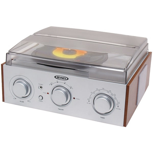 JENSEN JTA-220 3-Speed Stereo Turntable with AM-FM Receiver & 2 Built-in Speakers - aomega-products