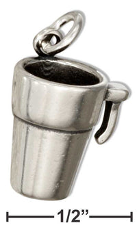Sterling Silver 3D Coffee Travel Mug Charm - aomega-products