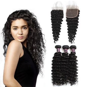 Brazilian Unprocessed deep wave Virgin Human Hair 3 Bundles With Lace Closure hair weft human virgin hair bundle with closure - aomega-products