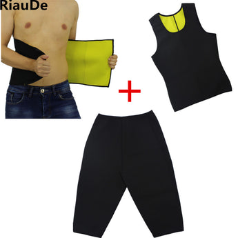 Neoprene vest+waistband+Pants Hot Shapers Men's waist Cincher waist trainer corsets shapewear sweat pants set Body Slimming Set - aomega-products