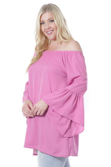 Women's Fashion Long Bell Sleeve Blouse Fuchsia (Small to 3XL Plus Sizes) - aomega-products