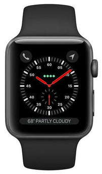 Apple Watch Series 3 38mm Space Gray Aluminium Case with Black Sport Band (GPS) - aomega-products