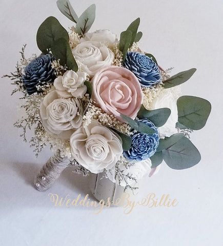 Dusty Blue Blush Sola Bouquet